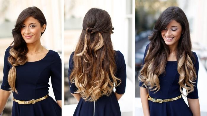Croissant ombré-hair-blond-coiffure-cheveux-longs-mi-attachés-avec-boucles JZ-99